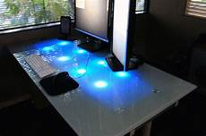 led glass desk