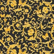 Versace Black Gold Baroque Butterflies Wallpaper 34325 2