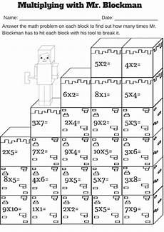 math single digit multiplication worksheet multiplying with mr blockman free single digit