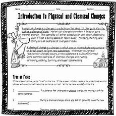 introduction to physical and chemical changes worksheet tpt