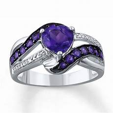amethyst heart ring diamond accents sterling silver 37448370199 sterlingjewelers