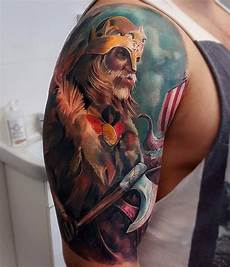 viking warrior sleeve best tattoo design ideas