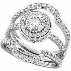 4 9ct 925 silver 3 piece wedding engagement halo bridal ring ebay