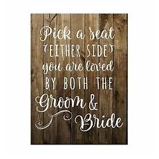 Rustic Wedding Seating Cermony Sign Brown
