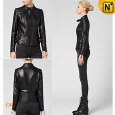 black leather biker jacket for cw650022