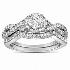 2 carat diamond infinity wedding ring in white