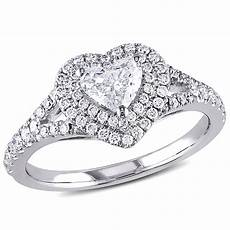 amour 1 ct tw halo heart diamond engagement ring in 14k