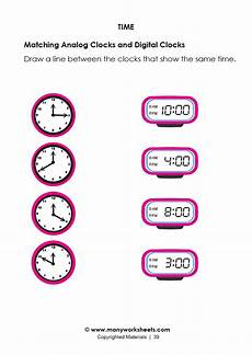 matching digital and analog clock worksheet 1