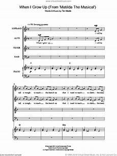 minchin when i grow up from matilda the musical sheet music for choir
