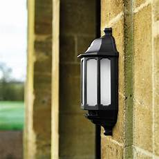 asd led half lantern outdoor wall light with dusk to dawn sensor black lyco
