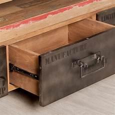 meuble tv en teck industriel 3 tiroirs quot loft quot 160cm marron
