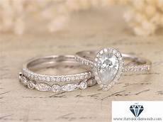 5x7mm pear shaped moissanite engagement ring two
