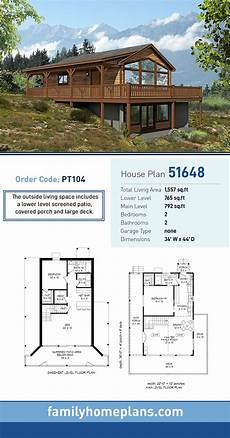 hillside house plans with walkout basement traditional style house plan 51648 with 2 bed 2 bath