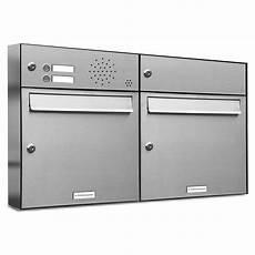 Briefkasten Mit Klingel Aufputz - 2er premium edelstahl briefkastenanlage f 252 r aufputz