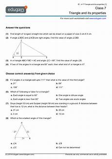 worksheets for class 7 cbse with answers 19156 grade 7 math worksheets and problems triangle and its properties edugain usa