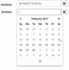 bootstrap datetimepicker startdate enddate validation