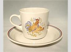 Corelle 16 PC SANDSTONE Beige COUNTRY MORNING Rooster