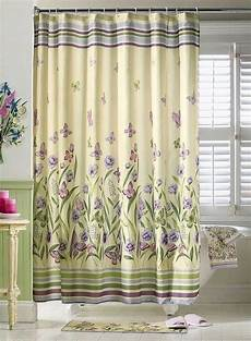 shower curtains with green botanical butterfly garden purple green floral shower