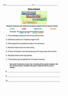 parts of speech worksheet nouns verbs adjectives and adverbs teaching resources