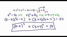 day 12 test c 4 and 5 convert the circle equation from