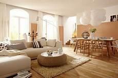 Einrichten Mit Farbe Wohnzimmer In Hellen Holzfarben