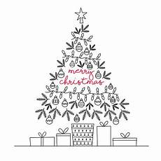 merry christmas tree greeting card vector line illustration stock illustration download image