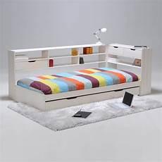tete de lit etagere lit blade avec 233 tag 232 res sommier et tiroirs 90 x 190 cm