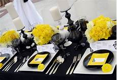 love this yellow black and white tablescape table decorations event decor wedding table