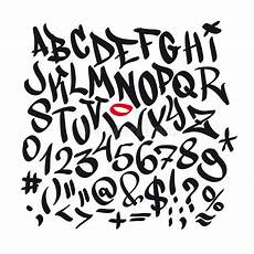 written graffiti font alphabet vector stock vector