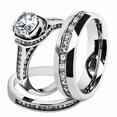 his hers stainless steel 3 piece cz wedding ring and eternity wedding band s size 10