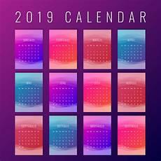 calendar 2019 colorful printable creative templates download free vectors clipart graphics