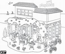 the house of playmobil in summer coloring page printable