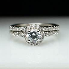 halo diamond engagement ring wedding band complete