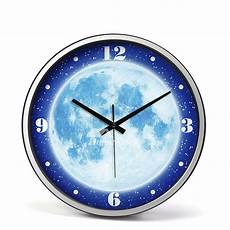 illuminated wall clock 14 inch silent modern silver