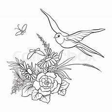 outline vintage flowers bouquet or stock vector colourbox
