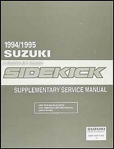 car service manuals pdf 1995 suzuki sidekick auto manual 1994 1995 suzuki sidekick repair shop manual supplement original