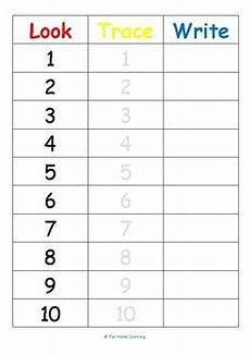 free look trace write numbers 1 10 by fun home learning tpt