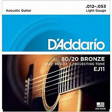 D Addario Ej11 80 20 Bronze Light Acoustic Guitar Strings