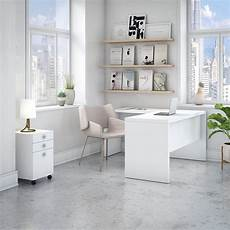 home office furniture ireland echo l desk with mobile file cabinet in pure white from
