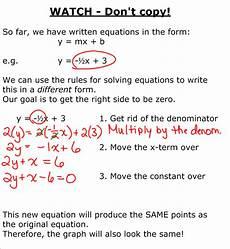 grade 9 academic math equation of a line standard form