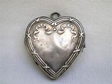 petit coeur pendentif porte photo ancien en argent massif