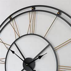 large black gold skeleton style wall clock vintage retro