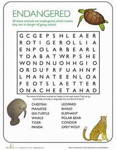 endangered animal worksheets 14298 animal word search endangered species worksheet education