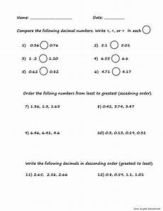 comparing and ordering decimals worksheets grade 5 7378 4th grade math comparing ordering decimals worksheet steemkr