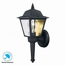 hton bay 1 light black outdoor wall lantern kb 5004 the home depot