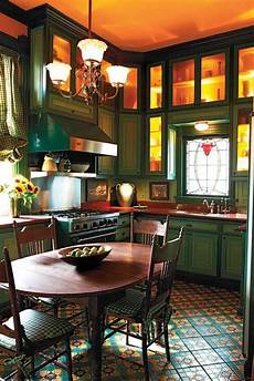 victorian kitchen i would paint a brighter color for the cabinets than that dark green