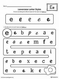 identifying letter e worksheets 24108 lowercase letter e styles worksheet kindergarten printable worksheets printable worksheets