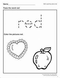 red preschool basic skills colors printable skills sheets