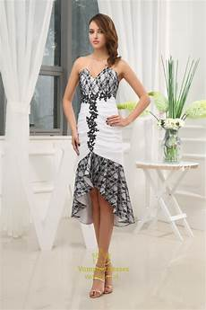 black and white high low prom dress black lace dress for wedding guest val dresses