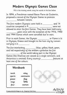winter cloze activities worksheets 19955 modern olympics cloze worksheet olympics olympic olympic lessons